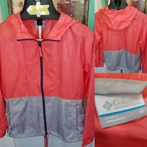 Columbia Sz M Pink Gray Windbreaker Zip up Hoodie
